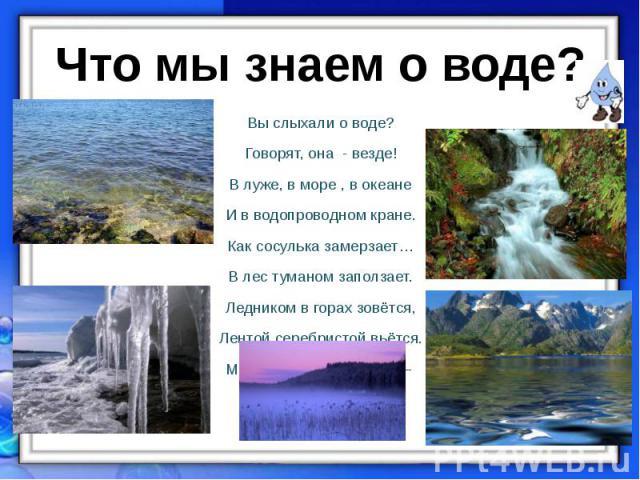 Вы слыхали о воде? Вы слыхали о воде? Говорят, она - везде! В луже, в море , в океане И в водопроводном кране. Как сосулька замерзает… В лес туманом заползает. Ледником в горах зовётся, Лентой серебристой вьётся. Мы привыкли , что вода – Наша спутни…
