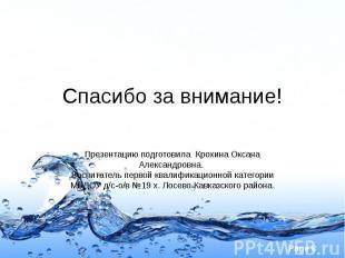 Спасибо за внимание! Презентацию подготовила Крохина Оксана Александровна. Воспи