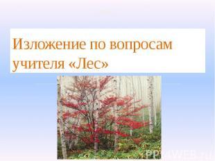 Изложение по вопросам учителя «Лес» 2 класс