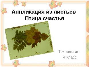 Аппликация из листьев Птица счастья Технология 4 класс
