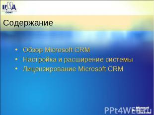 Содержание Обзор Microsoft CRM Настройка и расширение системы Лицензирование Mic