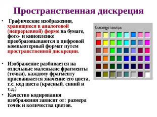 Пространственная дискреция Графические изображения, хранящиеся в аналогово
