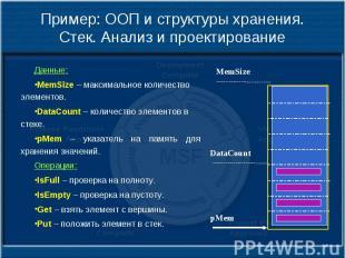 Пример: ООП и структуры хранения. Стек. Анализ и проектирование Данные: MemSize