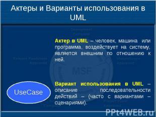 Актеры и Варианты использования в UML Актер в UML – человек, машина или программ