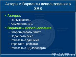 Актеры и Варианты использования в SRS Актеры: Пользователь. Администратор. Вариа