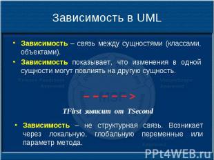 Зависимость в UML Зависимость – связь между сущностями (классами, объектами). За