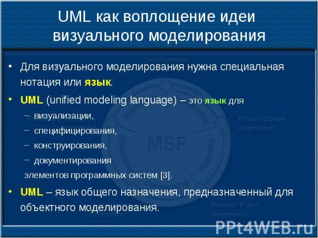 UML как воплощение идеи визуального моделирования Для визуального моделирования нужна специальная нотация или язык. UML (unified modeling language) – это язык для визуализации, специфицирования, конструирования, документирования элементов программны…