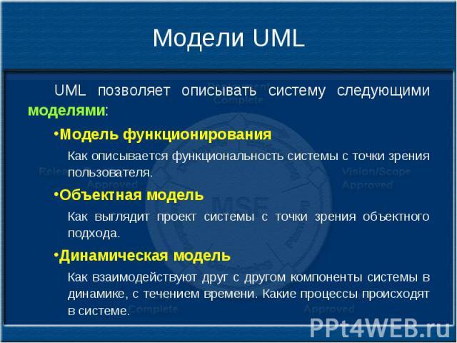 Модели UML UML позволяет описывать систему следующими моделями: Модель функционирования Как описывается функциональность системы с точки зрения пользователя. Объектная модель Как выглядит проект системы с точки зрения объектного подхода. Динамическа…