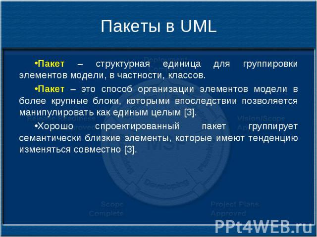 Пакеты в UML Пакет – структурная единица для группировки элементов модели, в частности, классов. Пакет – это способ организации элементов модели в более крупные блоки, которыми впоследствии позволяется манипулировать как единым целым [3]. Хорошо спр…