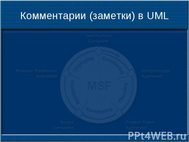 Комментарии (заметки) в UML