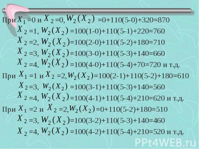 При =0 и =0, =0+110(5-0)+320=870 При =0 и =0, =0+110(5-0)+320=870 =1, =100(1-0)+110(5-1)+220=760 =2, =100(2-0)+110(5-2)+180=710 =3, =100(3-0)+110(5-3)+140=660 =4, =100(4-0)+110(5-4)+70=720 и т.д. При =1 и =2, =100(2-1)+110(5-2)+180=610 =3, =100(3-1)…