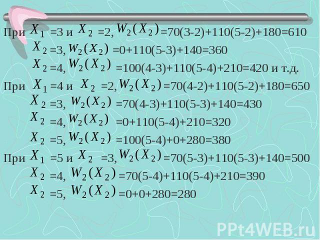 При =3 и =2, =70(3-2)+110(5-2)+180=610 При =3 и =2, =70(3-2)+110(5-2)+180=610 =3, =0+110(5-3)+140=360 =4, =100(4-3)+110(5-4)+210=420 и т.д. При =4 и =2, =70(4-2)+110(5-2)+180=650 =3, =70(4-3)+110(5-3)+140=430 =4, =0+110(5-4)+210=320 =5, =100(5-4)+0+…