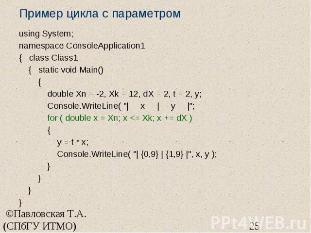 Пример цикла с параметром using System; namespace ConsoleApplication1 { class Class1 { static void Main() { double Xn = -2, Xk = 12, dX = 2, t = 2, y; Console.WriteLine( "