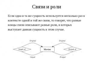 Связи и роли Если одна и та же сущность используется несколько раз в контексте о