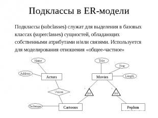 Подклассы в ER-модели Подклассы (subclasses) служат для выделения в базовых клас