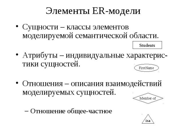 Элементы ER-модели Cущности – классы элементов моделируемой семантической области. Атрибуты – индивидуальные характерис- тики сущностей. Отношения – описания взаимодействий моделируемых сущностей. Отношение общее-частное