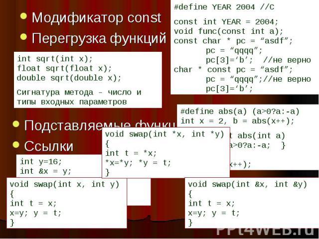 Модификатор const Модификатор const Перегрузка функций