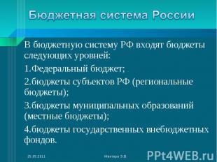 В бюджетную систему РФ входят бюджеты следующих уровней: В бюджетную систему РФ