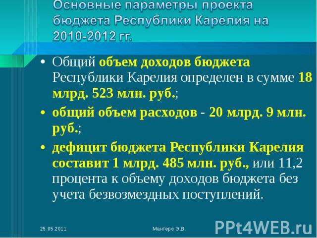 Общий объем доходов бюджета Республики Карелия определен в сумме 18 млрд. 523 млн. руб.; Общий объем доходов бюджета Республики Карелия определен в сумме 18 млрд. 523 млн. руб.; общий объем расходов - 20 млрд. 9 млн. руб.; дефицит бюджета Республики…