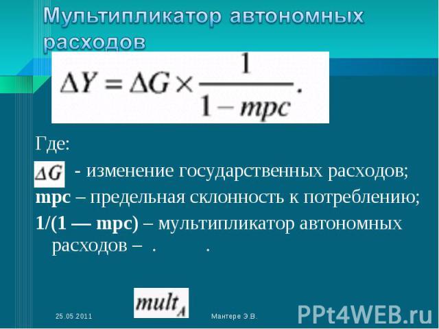 Где: - изменение государственных расходов; mpc – предельная склонность к потреблению; 1/(1 — mрс) – мультипликатор автономных расходов – . .