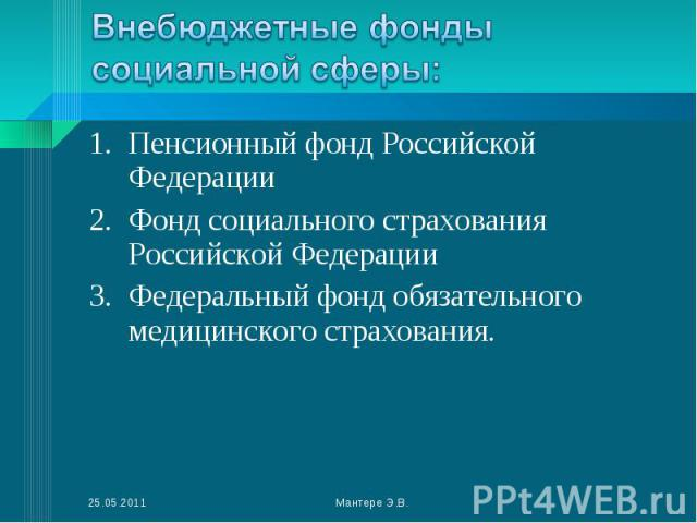 Пенсионный фонд Российской Федерации Пенсионный фонд Российской Федерации Фонд социального страхования Российской Федерации Федеральный фонд обязательного медицинского страхования.