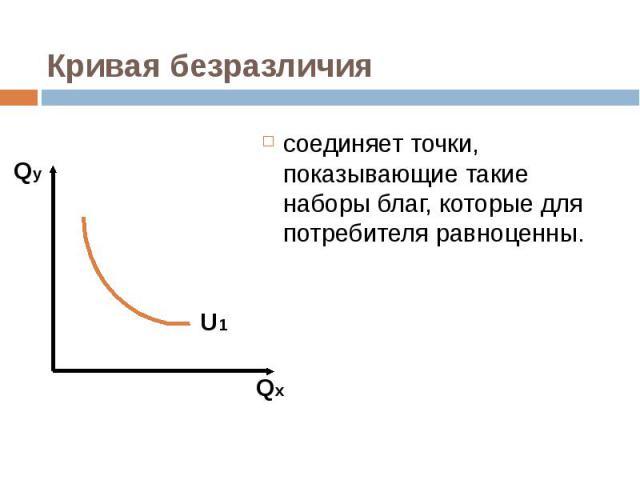 соединяет точки, показывающие такие наборы благ, которые для потребителя равноценны. соединяет точки, показывающие такие наборы благ, которые для потребителя равноценны.