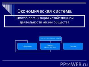 Экономическая система Способ организации хозяйственной деятельности жизни общест