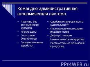Командно-административная экономическая система Развитие без экономических кризи