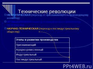 Технические революции НЕОЛИТИЧЕСКАЯ (переход от присваивающего к производящему х