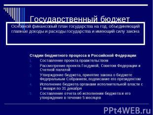 Государственный бюджет Стадии бюджетного процесса в Российской Федерации Составл
