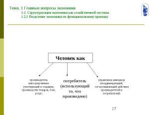 Тема. 1 Главные вопросы экономики 1.2. Структуризация экономики как хозяйственно