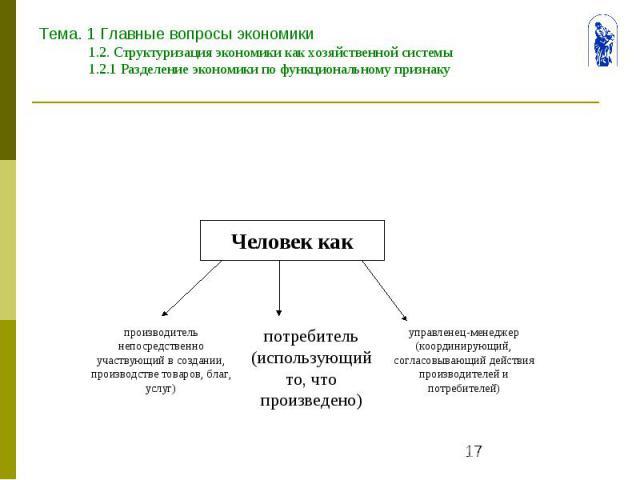 Тема. 1 Главные вопросы экономики 1.2. Структуризация экономики как хозяйственной системы 1.2.1 Разделение экономики по функциональному признаку