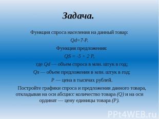 Задача. Функция спроса населения на данный товар: Qd=7-P. Функция предложения: Q
