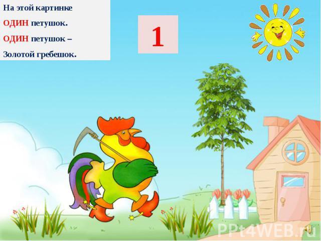 На этой картинке На этой картинке ОДИН петушок. ОДИН петушок – Золотой гребешок.