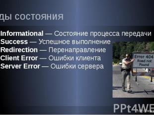 Коды состояния 1xx Informational — Состояние процесса передачи 2xx Success — Усп