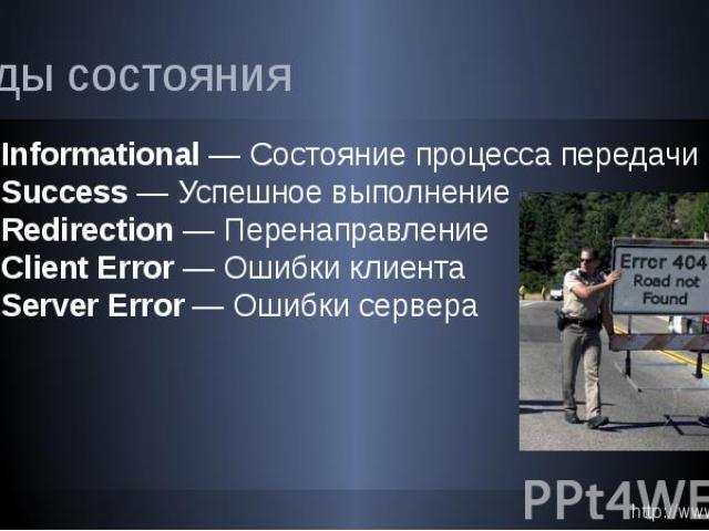Коды состояния 1xx Informational — Состояние процесса передачи 2xx Success — Успешное выполнение 3xx Redirection — Перенаправление 4xx Client Error — Ошибки клиента 5xx Server Error — Ошибки сервера