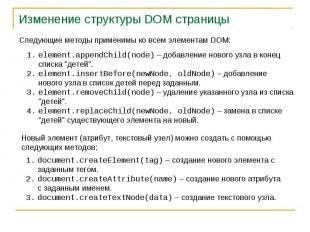 Изменение структуры DOM страницы