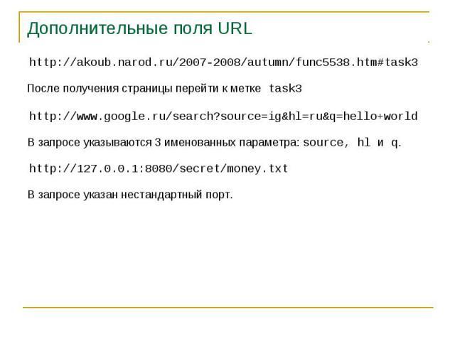 Дополнительные поля URL