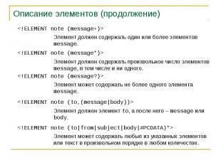 Описание элементов (продолжение)