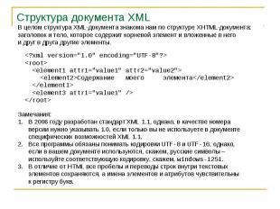 Структура документа XML