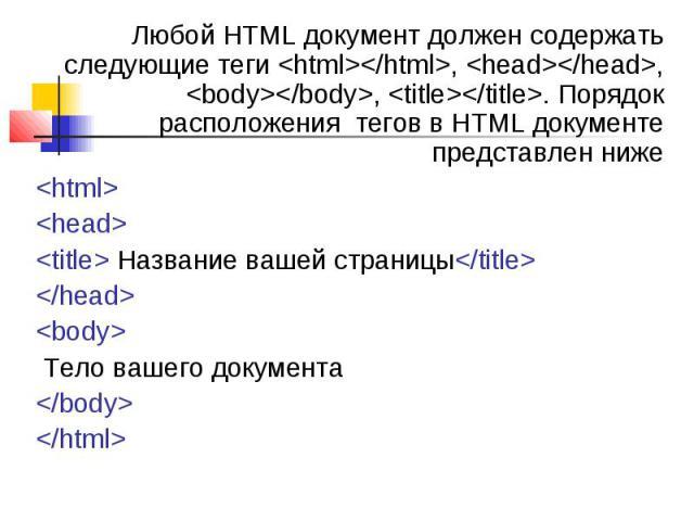 Любой HTML документ должен содержать следующие теги <html></html>, <head></head>, <body></body>, <title></title>. Порядок расположения тегов в HTML документе представлен ниже Любой HTML документ должен…