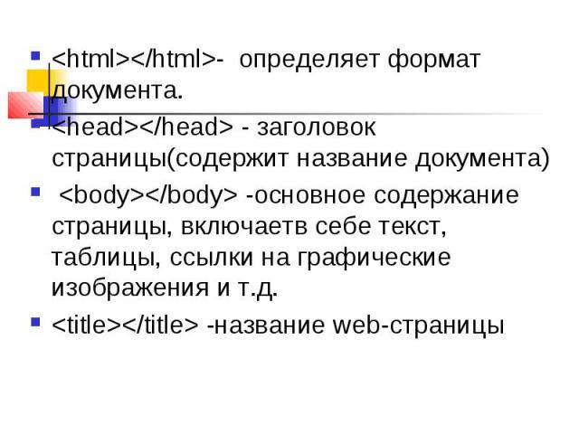 <html></html>- определяет формат документа. <html></html>- определяет формат документа. <head></head> - заголовок страницы(содержит название документа) <body></body> -основное содержание страницы, вклю…