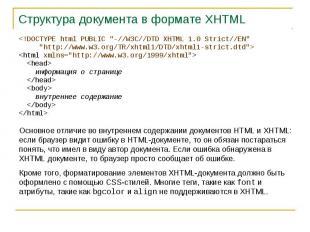 Структура документа в формате XHTML