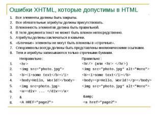 Ошибки XHTML, которые допустимы в HTML