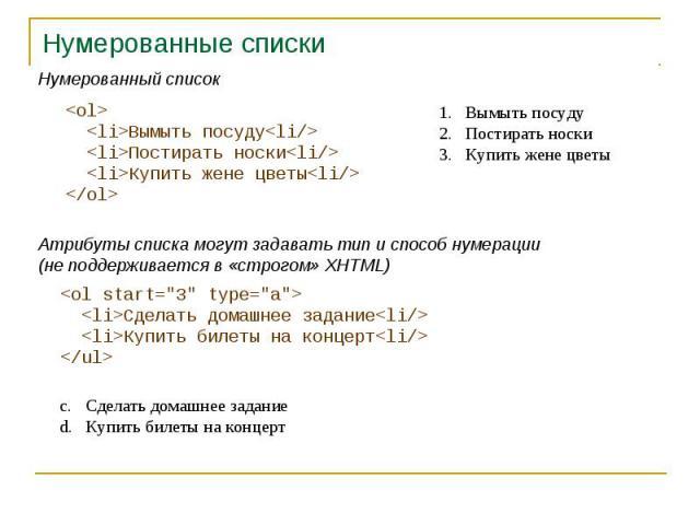 Нумерованные списки