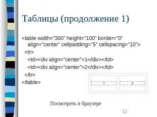"Таблицы (продолжение 1) <table width=""300"" height=""100"" b"