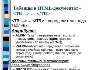 Таблицы в HTML-документах - <TR ...> … </TR> <TR ...> ... <