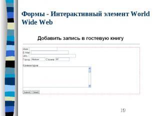 Формы - Интерактивный элемент World Wide Web