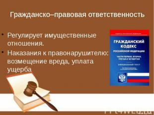 Гражданско–правовая ответственность Регулирует имущественные отношения. Наказани