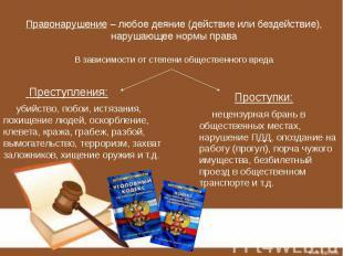 Правонарушение – любое деяние (действие или бездействие), нарушающее нормы права